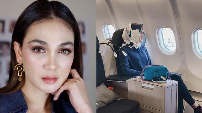 Pakai Hijab Sepulang Umroh, Luna Maya Unggah Foto dengan Tatapan Sendu di Pesawat, Masih Galau?