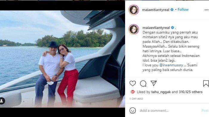 Maia Estianty pamer kemesraan dengan Irwan Mussry di atas kapal mewah.