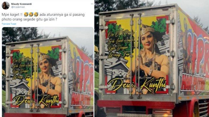 Maudy Koesnaedi tunjukkan wajahnya terpampang di belakang truk