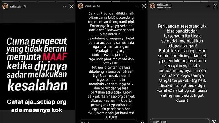 Meilia Lau update InstaStory seperti sedang menyindir Kaesang Pangarep.