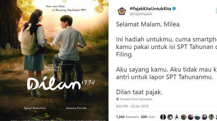 Mimin Ditjen Pajak RI Kena Dilan Efek,  Balasan Netizen Gak Kalah Kocak, 'Dilan Maaf, Aku Masih SMA'
