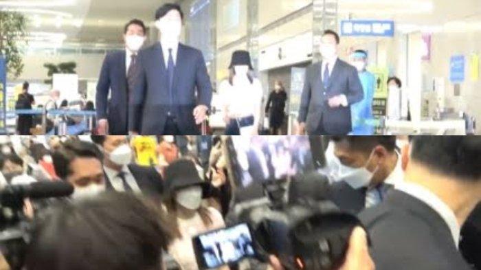 Miyawaki Sakura langsung dijaga ketat pengawal BTS saat tiba di Korea.