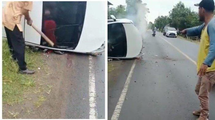Mobil pengantin terguling. Makin panik satu orang masih terjebak saat mobil mulai keluarkan asap