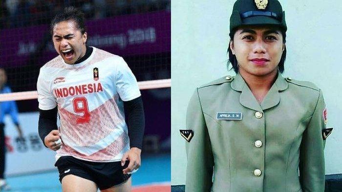 Momen Aprilia Manganang saat memakai seragam TNI wanita (kanan)