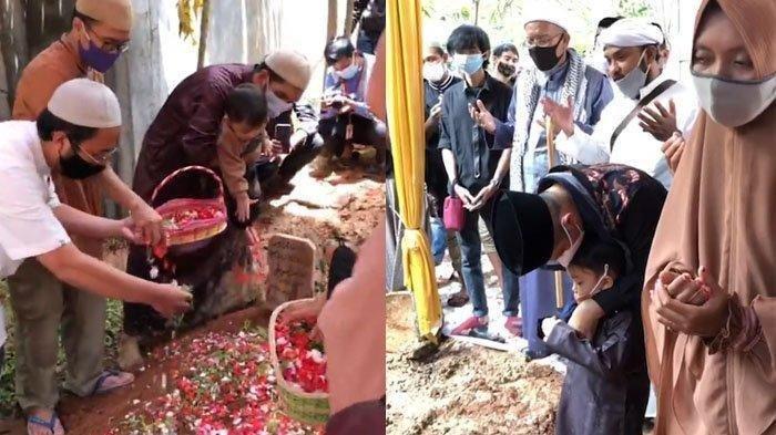 Momen haru anak almarhum Maaher At-Thuwailibi berdoa dan tabur bunga di makam ayahnya. (Kolase Tribun Bogor)