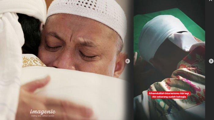 Momen Haru Putra Kedua Ustaz Arifin Ilham Tertunduk Menangis di Keranda Ayahnya