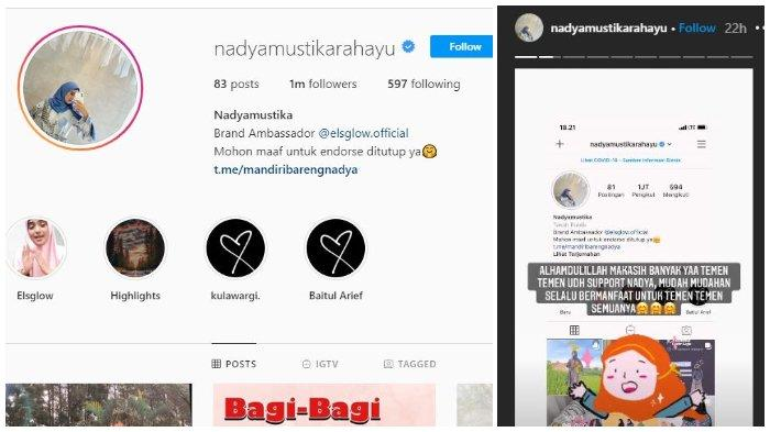 Nadya Mustika ucap syukur instagramnya diikuti 1 juta followers