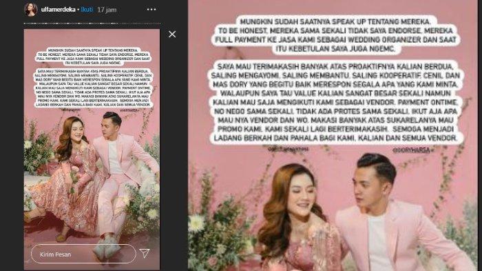 Unggahan pemilik akun wedding organizer yang mengurus pernikahan Nella Kharisma dan Dory Harsa
