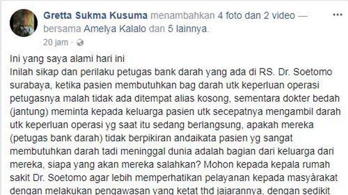 Netter Ini Curhat Pegawai RS Tidak Ada Saat Dirinya Butuh Darah untuk Operasi, Statusnya Viral!