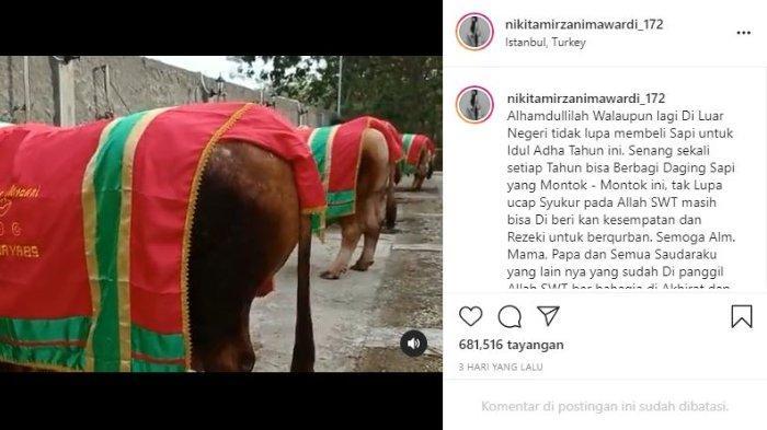 Nikita Mirzani tak ketinggalan kurban lima ekor sapi