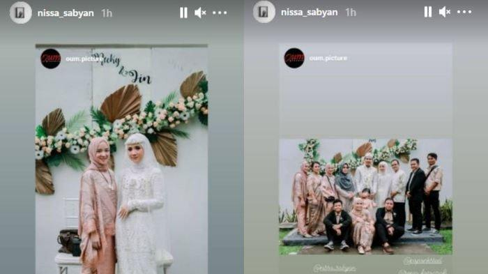Nissa Sabyan menghadiri acara pernikahan kerabatnya.