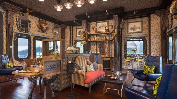 Penampakan ruang keluarga di hotel terbaik dunia, Capella Ubud, Bali.