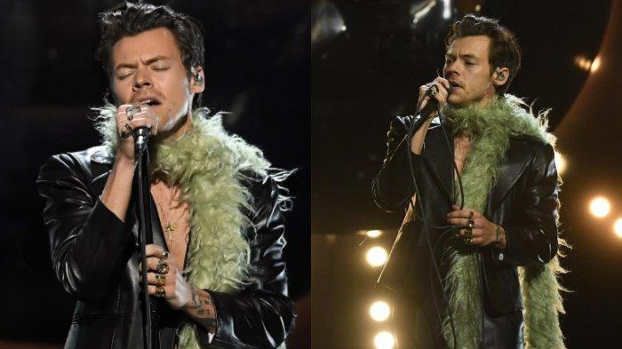 Penampilan Harry Styles saat Buka Grammy Awards 2021 Curi Perhatian, Pakai Jaket Kulit & Syal Bulu