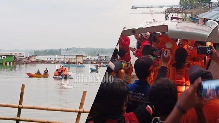 Pencarian korban perahu terbalik.
