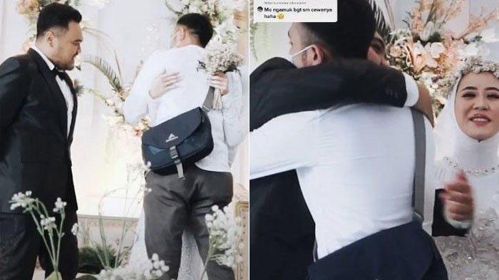 Pengantin pria beri izin istri memeluk mantan.