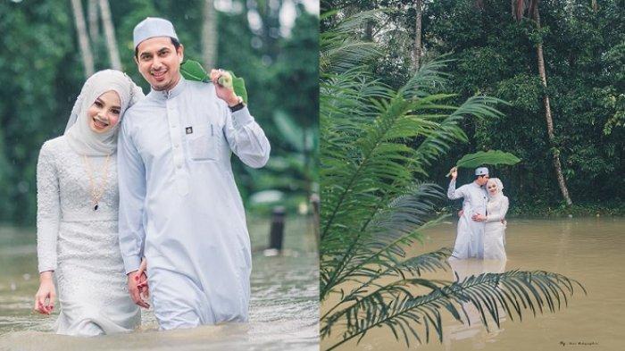 Viral Pengantin Tetap Romantis Meski Pernikahannya Dikepung Banjir, Istri Pertama Kirim Doa