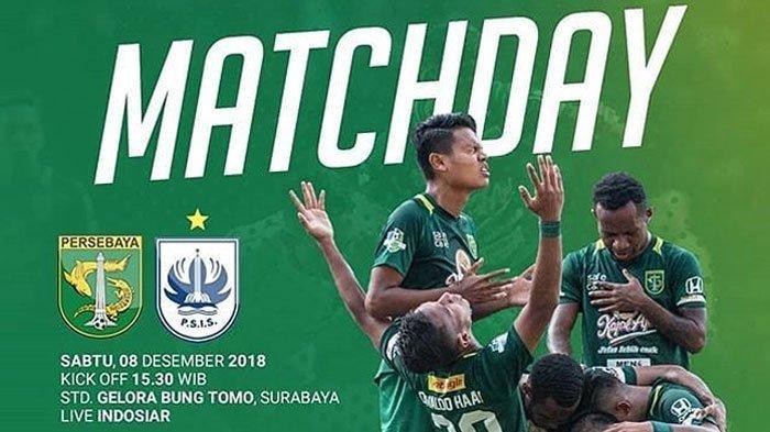 Link Live Streaming Persebaya vs PSIS Semarang Liga 1 2018, Sore Ini di Indosiar