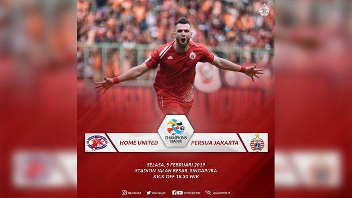 Live Streaming Persija Jakarta Vs Home United Malam Ini Jam 18.30 WIB Tak Disiarkan TV Cek di Sini