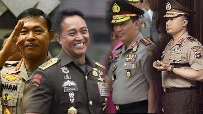 Para Jenderal TNI dan Polri, Kapolri Jenderal Listyo Sigit Prabowo, KSAD Jenderal Andika Perkasa, mantan Kapolri Jenderal Polisi Idham Azis, dan Komjen Agung Budi Maryoto