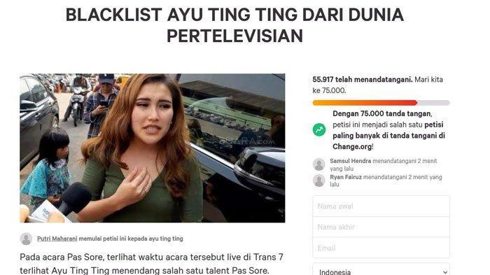 Petisi Blacklist Ayu Ting Ting viral di sosial media