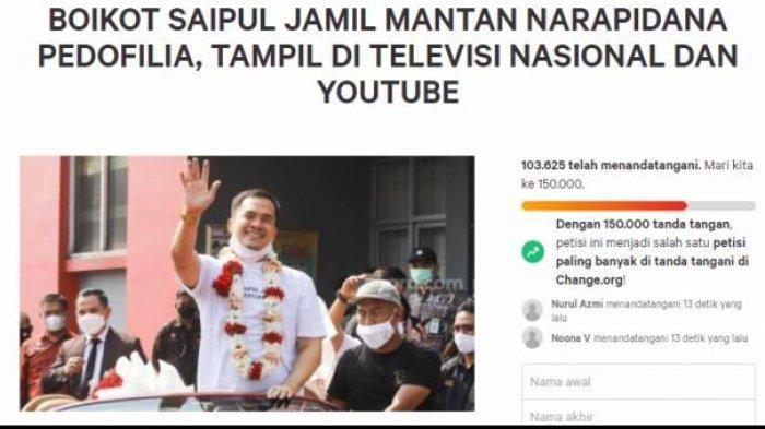 Petisi boikot Saipul Jamil dari TV dan YouTube capai 100 ribu tandatangan.