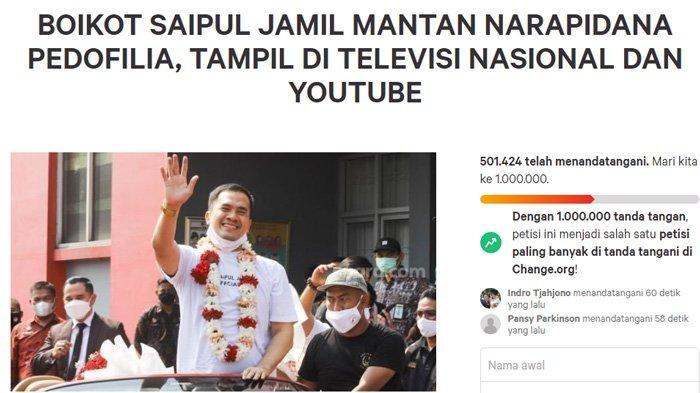 Petisi boikot Saipul Jamil tembus 500 ribu tanda tangan.