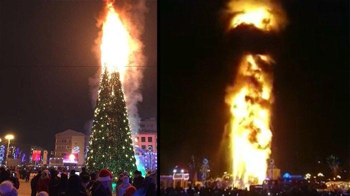 Perayaan Tahun Baru 2018, Pohon Natal Setinggi 24 Meter Terbakar Dahsyat di Rusia, Jadi Tontonan!