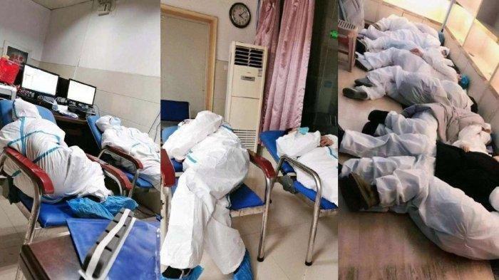 VIRAL! Foto Dokter & Perawat Lelah Rawat Pasien Virus Corona, Rela Tidur Meringkuk di Lantai & Kursi