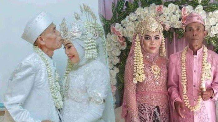 Potret pernikahan Abah Sarna kakek 78 tahun dengan gadis muda Noni 18 tahun