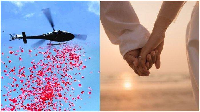 Pria Hadiahi Istrinya Pertunjukkan Indah, Helikopter Terbang Rendah & Taburkan Hal Ini di Pernikahan