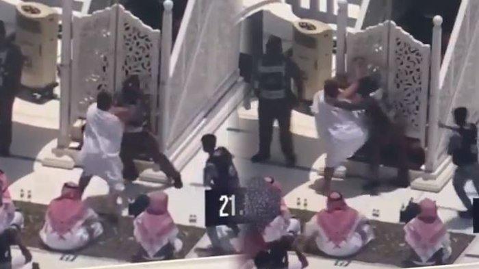 Dalam video yang berdurasi 11 detik, terlihat pria yang yang bertubuh gempal dengan pakaian irham berlari dari arah belakang sambil membawa tongkat kayu mencoba menyerang khatib Jumat di Masjidil Haram, Jumat (21/5/2021)