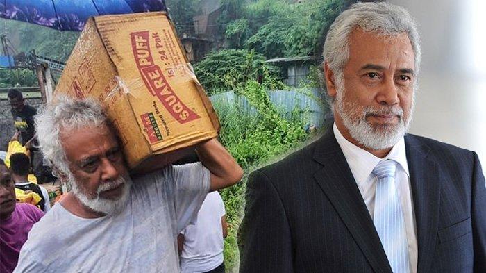 VIRAL Foto Mantan Presiden Timor Leste Pikul Kardus Bantu Korban Banjir, Ternyata Sahabat BJ Habibie
