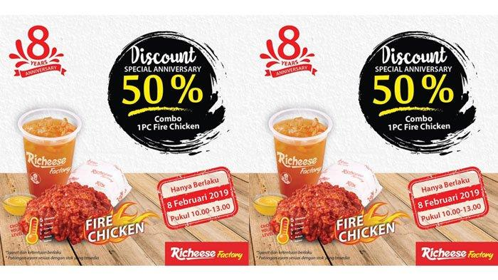 Promo Menarik Jumat 7 Februari 2019 - Richeese Factory Buka Diskon Combo Fire Chicken 50%