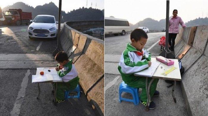 Sedih! Rumahnya Gelap, Anak Ini Terpaksa Mengerjakan PR di Pinggir Flyover