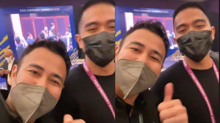 Raffi Ahmad dan Kaesang Pangarep di Kongres Biasa PSSI 2021.