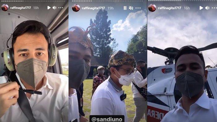 Raffi Ahmad dan Sandiaga Uno sat hadir dalam sosialisasi Anugerah Desa Wisata Indonesia 2021 (ADWI 2021) di Bogor.