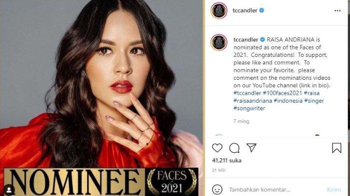 Raisa masuk dalam nominasi wanita tercantik di dunia 2021 menurut TC Candler.