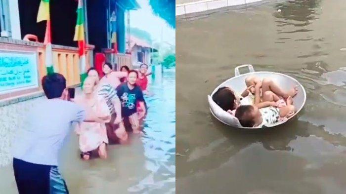 Video Kocak Korban Banjir Nikmati Suasana, Asyik Main Tik Tok hingga Bayi Santai Terapung-apung