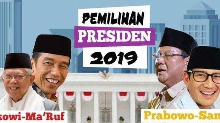 Hasil update real count Pilpres 2019 KPU untuk pasangan capres Jokowi-Amin dan Prabowo-Sandi