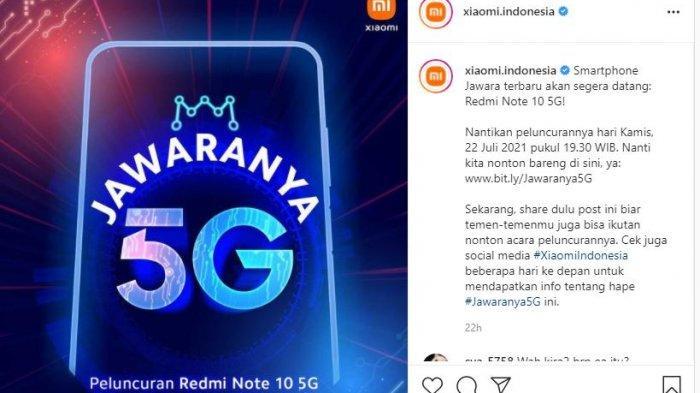 Redmi Note 10 5G rilis di Indonesia 22 Juli 2021