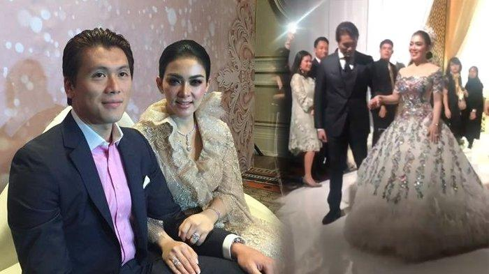 Penampilan serasi Syahrini dan Reino Barack di resepsi pernikahan mereka, Jumat (03/05/2019)