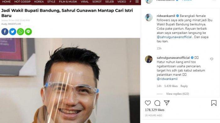 Postingan Ridwan Kamil bantu Sahrul Gunawan cari pendamping hidup.