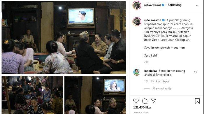 Ridwan Kamil membagikan potret ibu-ibu yang sedang menonton sinetron Ikatan Cinta.