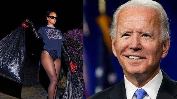 Joe Biden Dilantik Jadi Presiden, Rihanna Rayakan dengan Buang Sampah, Sindir Donald Trump?