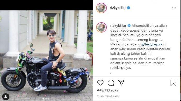 Rizky Billar dapat hadiah ulang tahun motor ratusan juta dari Lesti Kejora.