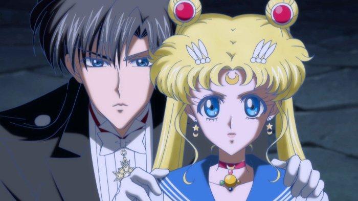 Sailor Moon dan Tuxedo Mask di anime Sailor Moon