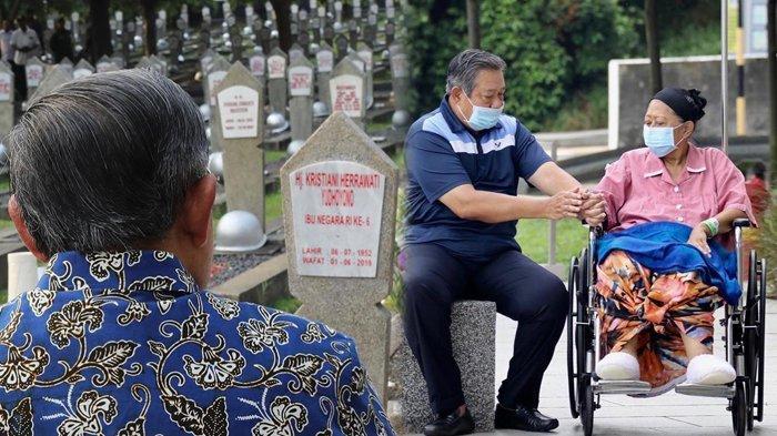 Haru! Kembali Ziarah ke Makam Ani Yudhoyono, SBY Duduk Termenung Pandangi Nisan Sang Istri