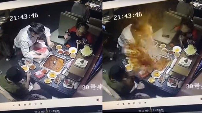Sebuah Korek Pembeli Meledak Di Dalam Air Panas Mendidih Hotpot Restoran dan Kenai Muka Pegawai Ini