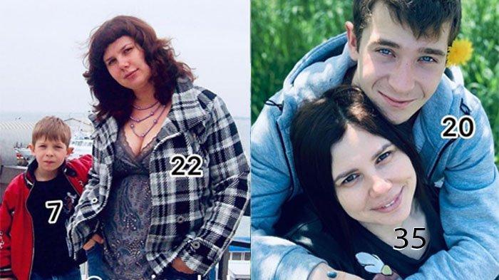 Marina bersama anak tiri yang kini menjadi suaminya