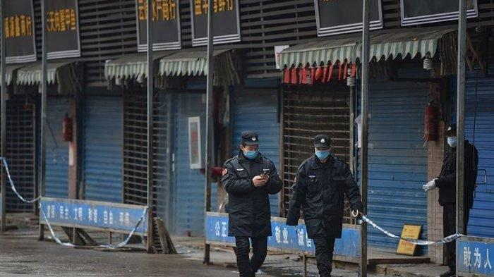 Pasar Wuhan saat ditutup akibat virus Corona